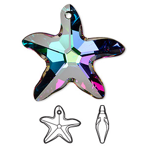 focal, swarovski crystals with third-party coating, crystal electra, 30x28mm faceted starfish pendant (6721). sold per pkg of 12.