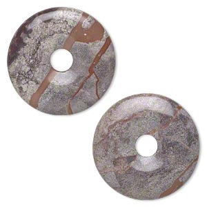 focal, terra rosa jasper (natural), 30mm round donut, b grade, mohs hardness 6-1/2 to 7. sold per pkg of 2.