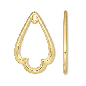focal, tierracast, gold-plated pewter (tin-based alloy), 32x21mm open trefoil teardrop with loop. sold per pkg of 2.