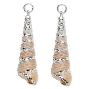 focal, tower shell (natural) and silver-plated steel, white and tan, 34x9mm, mohs hardness 3-1/2. sold per pkg of 2.