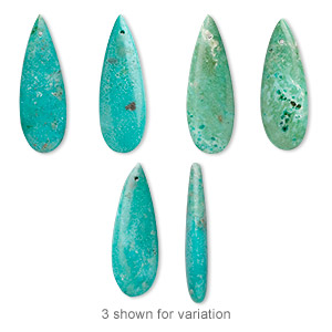 focal, turquoise (dyed / stabilized), blue-green, 30x10mm teardrop, b grade, mohs hardness 5 to 6. sold per pkg of 2.