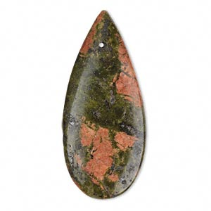 focal, unakite (natural), 46x20mm flat teardrop, b grade, mohs hardness 6 to 7. sold individually.