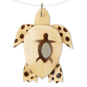 focal, wood and steel, light brown and dark brown, 56x45mm turtle with painted turtle design and spots. sold per pkg of 2.