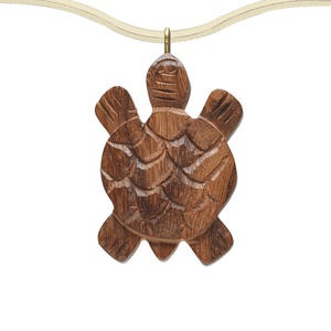 focal, wood (natural) and brass, brown, 42x28mm single-sided carved turtle. sold per pkg of 6.