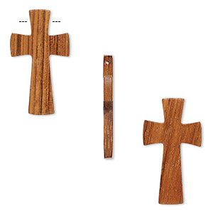 focal, wood (waxed), 40x22mm hand-cut cross. sold per pkg of 2.