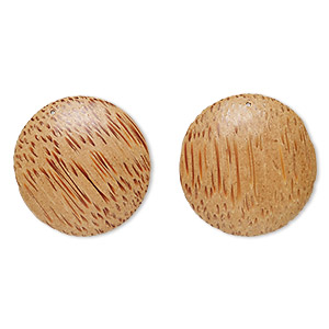 focal, wood (waxed), light, 39mm domed round. sold per pkg of 2.