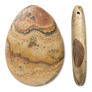 focal, yellow leopardskin jasper (natural), 38x28mm top-drilled teardrop, b grade, mohs hardness 6-1/2 to 7. sold per pkg of 3.