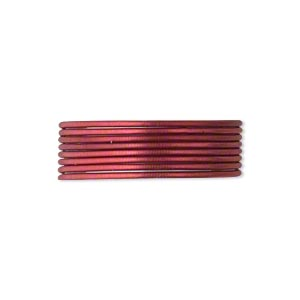 french wire, enamel-coated brass, red, 0.7mm tube. sold per pkg of (2) 19-1/2 inch strands.