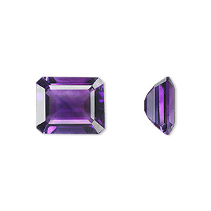 gem, amethyst (natural), light to medium, 12x10mm faceted emerald-cut, a grade, mohs hardness 7. sold individually.