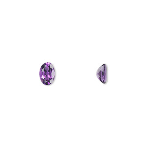 gem, amethyst (natural), light to medium, 6x4mm faceted oval, a grade, mohs hardness 7. sold per pkg of 2.