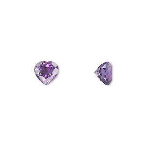 gem, amethyst (natural), light to medium, 7x7mm faceted heart, a grade, mohs hardness 7. sold individually.