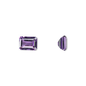 gem, amethyst (natural), light to medium, 8x6mm faceted emerald-cut, a grade, mohs hardness 7. sold individually.