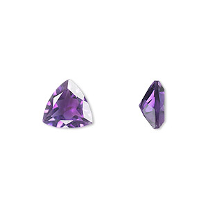 gem, amethyst (natural), light to medium, 9x9x9mm faceted triangle, a grade, mohs hardness 7. sold individually.