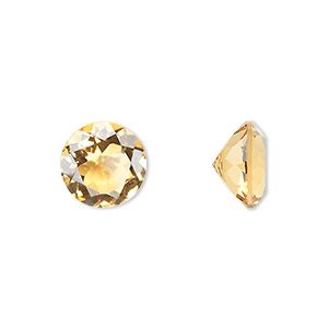 gem, citrine (heated), 10mm faceted round, a grade, mohs hardness 7. sold individually.