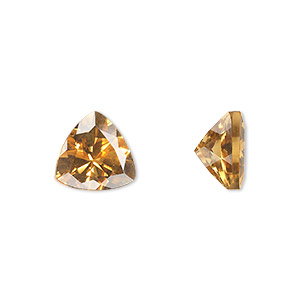 gem, citrine (heated), 10x10x10mm faceted triangle, a grade, mohs hardness 7. sold individually.