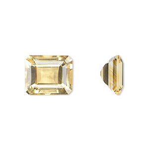 gem, citrine (heated), 12x10mm faceted emerald-cut, a grade, mohs hardness 7. sold individually.