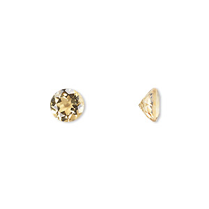 gem, citrine (heated), 6mm faceted round, a grade, mohs hardness 7. sold individually.