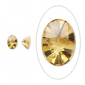 gem, citrine (heated), 7x5mm buffed-top faceted oval, a grade, mohs hardness 7. sold per pkg of 2.