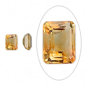 gem, citrine (heated), 8x6mm faceted emerald-cut, a grade, mohs hardness 7. sold individually.