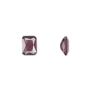 gem, cubic zirconia, alexandrite purple, 8x6mm faceted emerald-cut, mohs hardness 8-1/2. sold per pkg of 2.