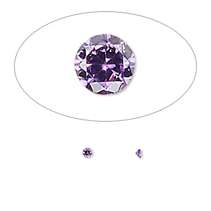 gem, cubic zirconia, amethyst purple, 2mm faceted round, mohs hardness 8-1/2. sold per pkg of 10.