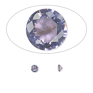 gem, cubic zirconia, amethyst purple, 3.5mm faceted round, mohs hardness 8-1/2. sold per pkg of 5.
