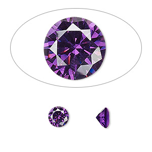 gem, cubic zirconia, amethyst purple, 6mm faceted round, mohs hardness 8-1/2. sold per pkg of 2.