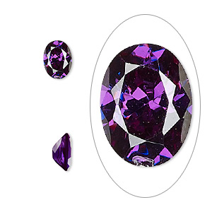 gem, cubic zirconia, amethyst purple, 8x6mm faceted oval, mohs hardness 8-1/2. sold per pkg of 2.