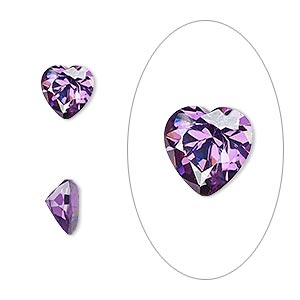 gem, cubic zirconia, amethyst purple, 8x8mm faceted heart, mohs hardness 8-1/2. sold individually.