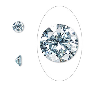gem, cubic zirconia, aqua blue, 6mm faceted round, mohs hardness 8-1/2. sold per pkg of 2.