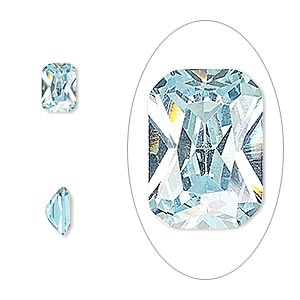 gem, cubic zirconia, aqua blue, 7x5mm faceted emerald-cut, mohs hardness 8-1/2. sold per pkg of 2.