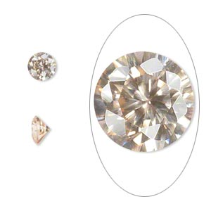gem, cubic zirconia, champagne, 5mm faceted round, mohs hardness 8-1/2. sold per pkg of 5.