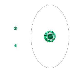 gem, cubic zirconia, emerald green, 2mm faceted round, mohs hardness 8-1/2. sold per pkg of 10.