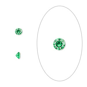 gem, cubic zirconia, emerald green, 3.5mm faceted round, mohs hardness 8-1/2. sold per pkg of 5.
