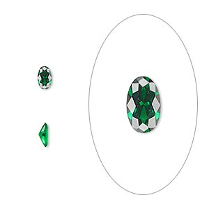 gem, cubic zirconia, emerald green, 5x3mm faceted oval, mohs hardness 8-1/2. sold per pkg of 5.