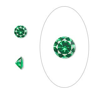 gem, cubic zirconia, emerald green, 6mm faceted round, mohs hardness 8-1/2. sold per pkg of 2.