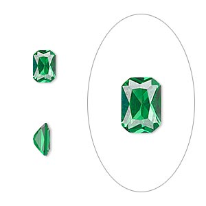 gem, cubic zirconia, emerald green, 7x5mm faceted emerald-cut, mohs hardness 8-1/2. sold per pkg of 2.