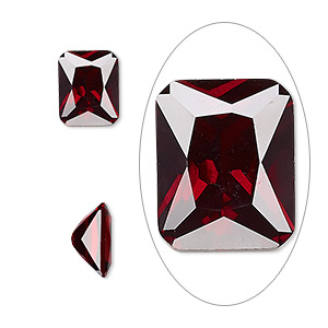 gem, cubic zirconia, garnet red, 10x8mm faceted emerald-cut, mohs hardness 8-1/2. sold individually.
