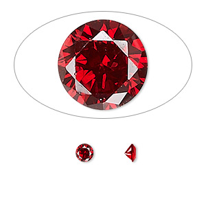 gem, cubic zirconia, garnet red, 4mm faceted round, mohs hardness 8-1/2. sold per pkg of 5.