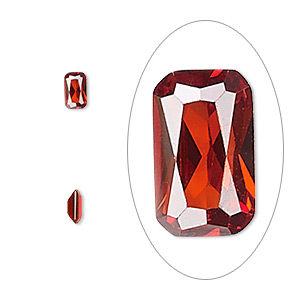 gem, cubic zirconia, garnet red, 5x3mm faceted emerald-cut, mohs hardness 8-1/2. sold per pkg of 5.