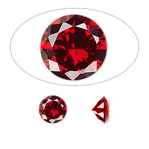 gem, cubic zirconia, garnet red, 8mm faceted round, mohs hardness 8-1/2. sold individually.