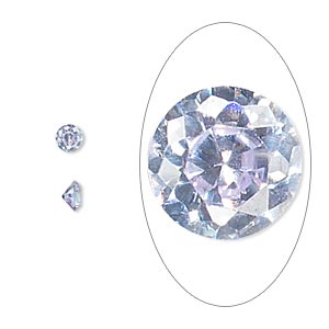 gem, cubic zirconia, lavender, 4mm faceted round, mohs hardness 8-1/2. sold per pkg of 5.