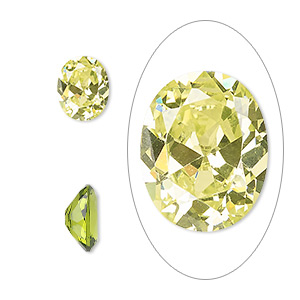 gem, cubic zirconia, peridot green, 10x8mm faceted oval, mohs hardness 8-1/2. sold individually.