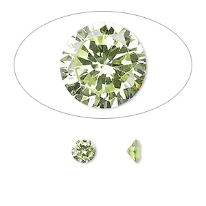 gem, cubic zirconia, peridot green, 5mm faceted round, mohs hardness 8-1/2. sold per pkg of 2.