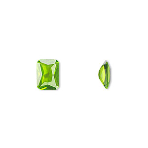 gem, cubic zirconia, peridot green, 8x6mm faceted emerald-cut, mohs hardness 8-1/2. sold per pkg of 2.