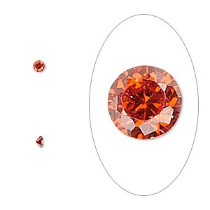 gem, cubic zirconia, ruby red, 2.5mm faceted round, mohs hardness 8-1/2. sold per pkg of 10.