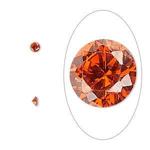 gem, cubic zirconia, ruby red, 3mm faceted round, mohs hardness 8-1/2. sold per pkg of 5.