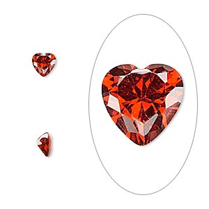 gem, cubic zirconia, ruby red, 5x5mm faceted heart, mohs hardness 8-1/2. sold per pkg of 2.