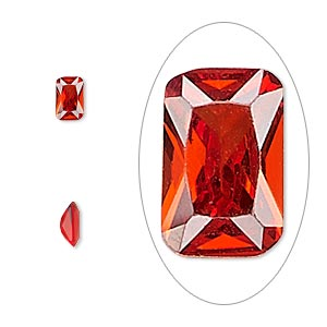 gem, cubic zirconia, ruby red, 6x4mm faceted emerald-cut, mohs hardness 8-1/2. sold per pkg of 2.
