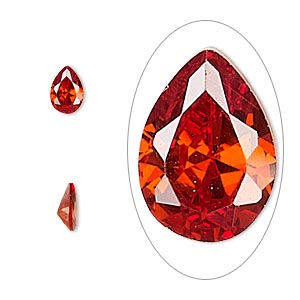 gem, cubic zirconia, ruby red, 7x5mm faceted pear, mohs hardness 8-1/2. sold per pkg of 2.
